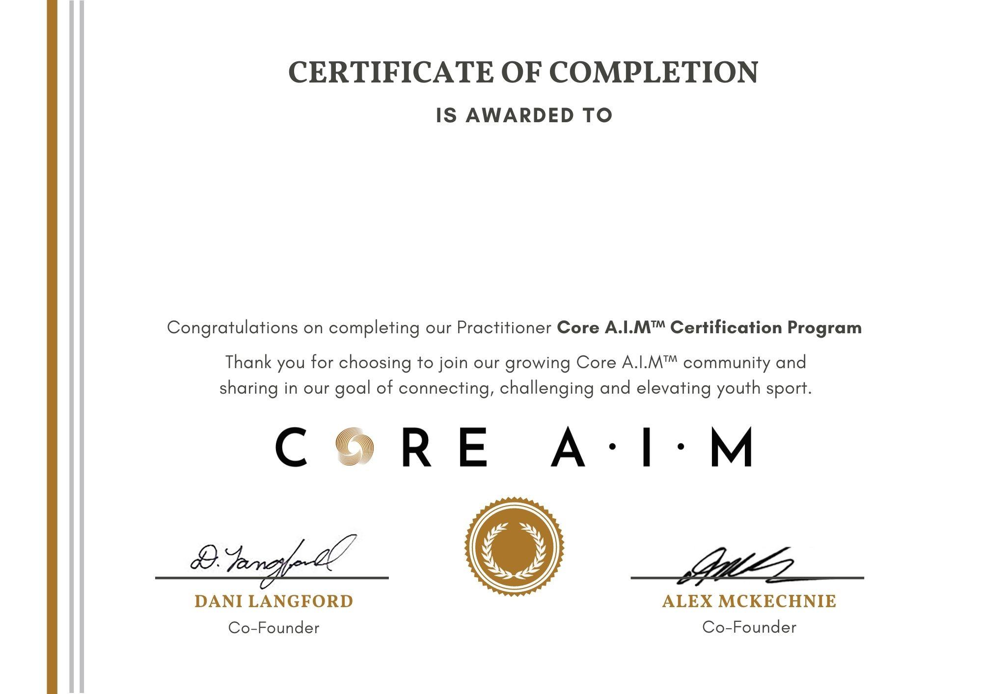 Core A.I.M Certification Certificate